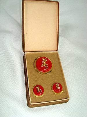 French Painleve Red Galalith Brass Salamander Pin Brooch Earrings Set in Box MIB