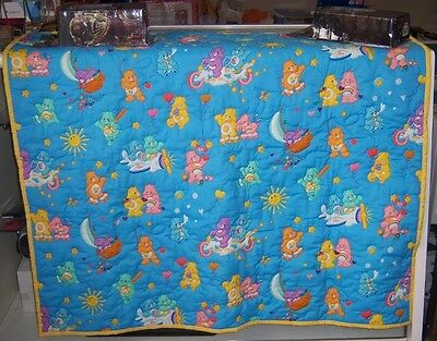 "Care Bears Quilted Baby Crib Blanket (42"" x 39 1/2"") - New Quilted by Hand"