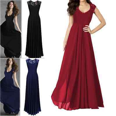 US Women Chiffon Formal Party Prom Lace Ballgown Cocktail Bridesmaid Long Dress