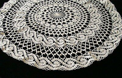 "Beautiful Antique Hand Made Bobbin Lace Tablecloth Topper 31"" PRISTINE Laundered"