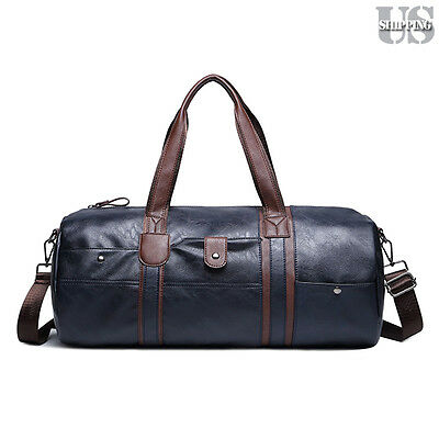 Men Leather Travel Gym Bag Weekend Overnight Bag Duffle Shoulder Handbag Luggage