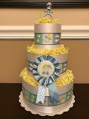 Diaper Cake Blue Boys Pampers 3 Tier Baby Shower Centerpiece