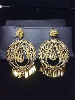 Mexican Filigree Gold Plated ExTra Large Tear Drop Dangle   Earrings