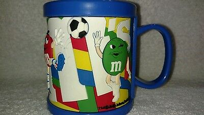 M&M's Blue Plastic Mug With Green, Red, Yellow & Blue Sports Players