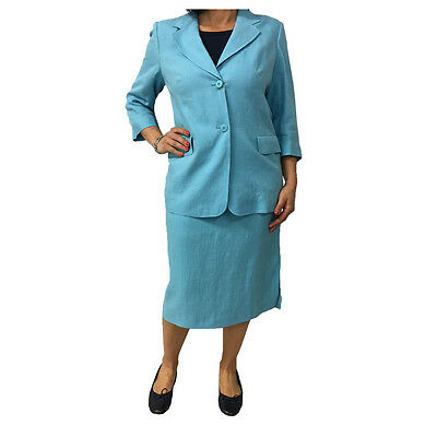 PERSONA by Marina Rinaldi complete woman turquoise jacket unlined 100% linen