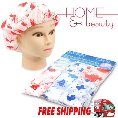 6pc Women Reusable Waterproof Plastic Shower Cap Bathing Salon Hair Washable Hat