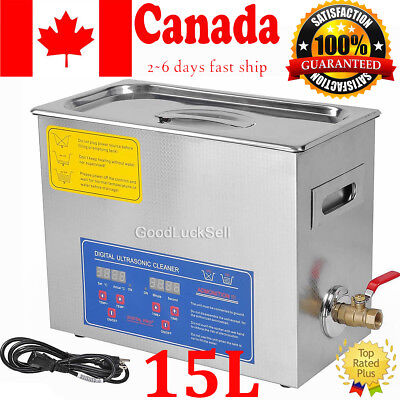 15L Liter 760W Stainless Steel Industry Heated Ultrasonic Cleaner w/Timer Canada