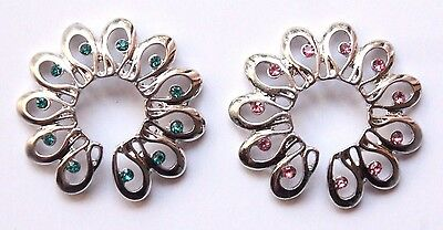 Fake Non piercing Gem Flower Floral Swirl Dangle Nipple shield Ring Bar jewelry