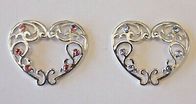 Clip On Fake Non piercing Gem Love Heart Floral Nipple shield Ring Bar jewellery