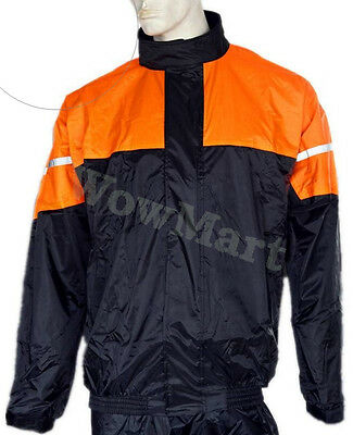 NEW Motorbike Cycling Workwear Windproof Waterproof Raincoat Rain Jacket Orange