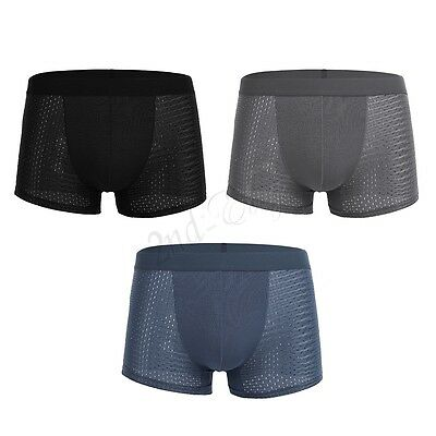 Mens Ice Silk Thong Underwear Bulge Pouch Lingerie Bikini G-String Boxer Briefs