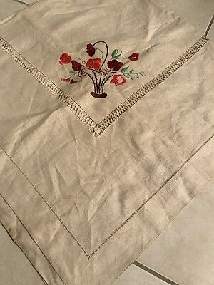 Vintage Retro Kitsch Embroidery Linen Table Cloth Tablecloth Supper AS IS