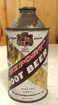 Early 1950's Pure Spring Export Root Beer Cone Top Soda Pop Can Canada