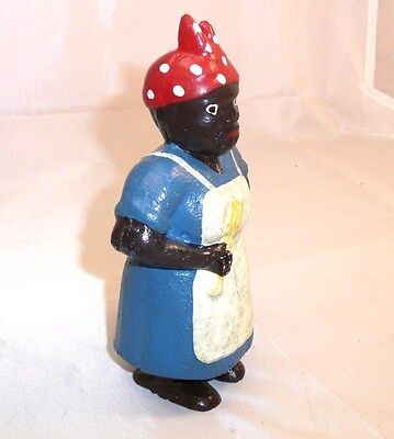 "Aunt Jemima Cast Iron Mammy Bank~5-3/4""~Black Americana~Cooking Mammy with spoon"
