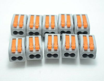 50Pcs PCT-212 222-412 Spring Lever Push Cable 2 Wire Connector 32A Terminal