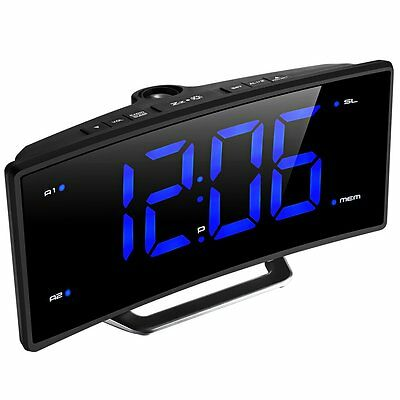 Digital Projection Alarm Clock  LED Dual Alarms Time Projector FM Radio Curved