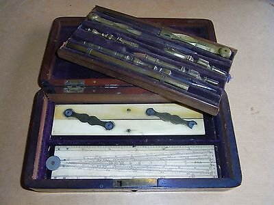 Antique Drawing Set Instruments Brass Wing Screws C 1790 Mahogany Box