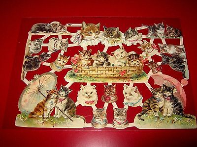 Vintage Style Die Cut  Paper Scraps Basket Of Cats New