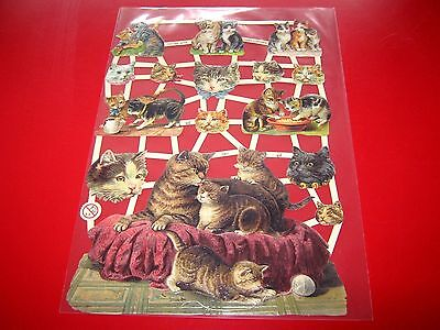 Vintage Style Die Cut  Paper Scraps Motifs Of Mother And Kittens  New