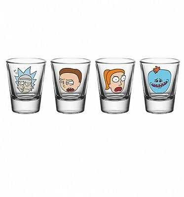 Official Rick and Morty Characters Set Of 4 Shot Glasses
