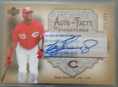 2006 upper deck auto facts auto card of ken griffey jr,  numbered 173/800 reds