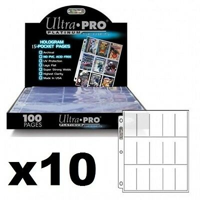 10 x ULTRA PRO 15 POCKET PLATINUM SERIES TOBACCO CIGARETTE CARDS SLEEVES PAGES