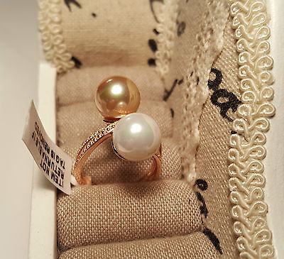 Beautiful White & Gold Shell Pearl Crossover Ring in Rose  gold over S/Silver