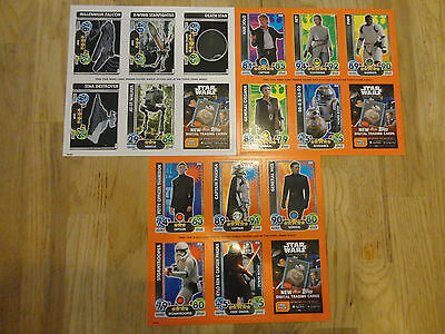 Force Attax Extra The Force Awakens Base Celebration Promo Sheets 3 different