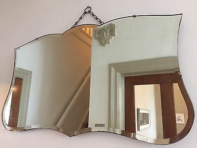 VINTAGE Bevelled Frameless Wall MIRROR Original Chain 30s 40s Art Deco 65X37cm