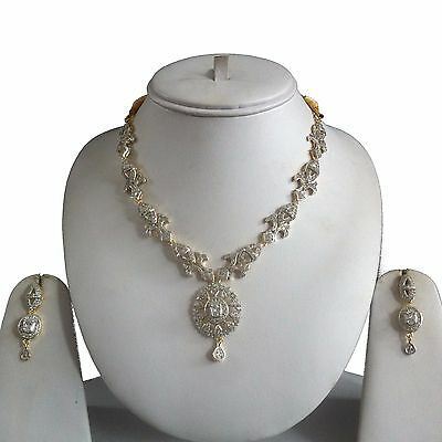 Clear Gold Costume Jewellery Necklace Earrings American Diamond Set Bridal New 4