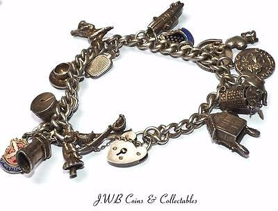Vintage Sterling Silver Charm Bracelet With 16 Charms - 51 Grams
