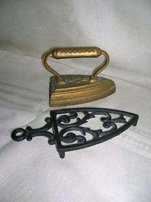 Antique Cast Iron Sad Iron with Wilton Trivet Stand-1900's