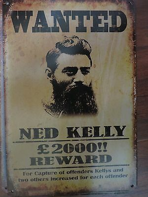 ned kelly . tin metal sign MAN CAVE brand new or for the  bar