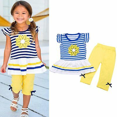 Toddler Infant Kids Baby Girls Outfits Clothes T-shirt Tops Dress+Pants 2PCS Set