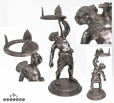 19th C. Grand Tour Silvered Bronze Statue Silenus Pompeii Roman 11""