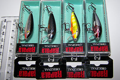 RAPALA FISHING LURES LOT OF 4, F-3 Original Floating Minnow  Trout, Bass, Cod..