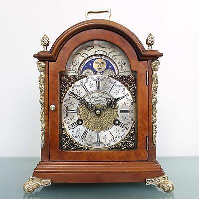 HERMLE Mantel Clock LARGE MODEL Dutch Moonphase 2 Bell CHIME Vintage Mid Century