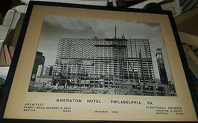Vtg Framed Archatect Photograph Sheraton Hotel Philadelphia Pa. 1956 PERRY/SHAW