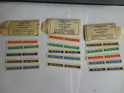 Found *3 Original Hornby-Dublo Meccano Station Name Packs 5 In Each#32171