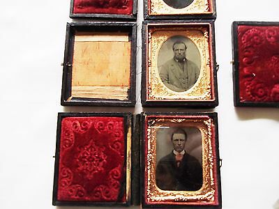 Early 1840's  (4)  different daguerreotypes of Amish Father and his 3 Sons