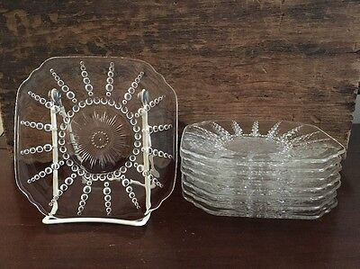 Federal Glass Columbia Clear Bread and Butter Plate c 1938 to 42 Set of 8 Lot 7