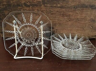 Federal Glass Columbia Clear 6 inch Saucer circa 1938 to 1942 Set of 4 Lot 13