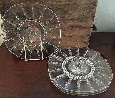 Federal Glass Columbia Clear 11 inch Chop Plate ca 1938 to 1942 Set of 4 Lot 10