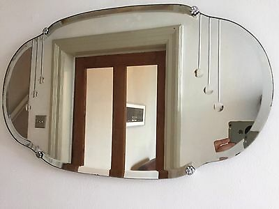 Original ART DECO Vintage Bevelled Frameless Wall MIRROR 1920s 30s 40s 55X33cm