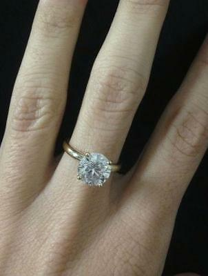 3.0 CT D VS2 CARAT DIAMOND ENGAGEMENT RING 14K Yellow GOLD ANNIVERSARY WEDDING H
