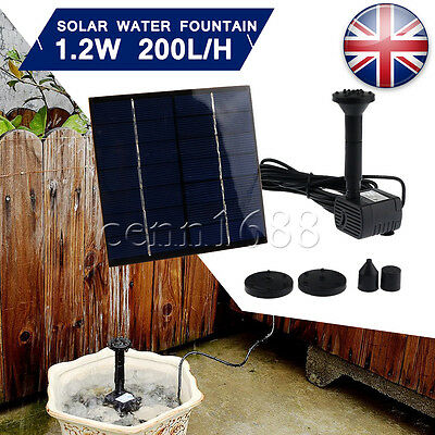 Water Feature Fountain Submersible Pump Solar Panel Powered Garden Pond 7V 1.2W