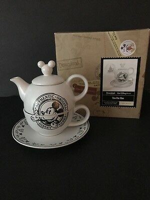 Disney Parks Mickey Mouse TEA FOR ONE CUP TEAPOT SAUCER 4 Pc. Black White NIB!