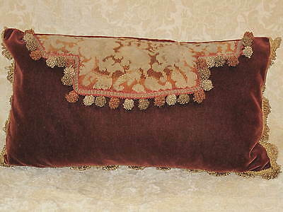 Antique 19Th C English Needlepoint Woolwork Envelope Pillow #2