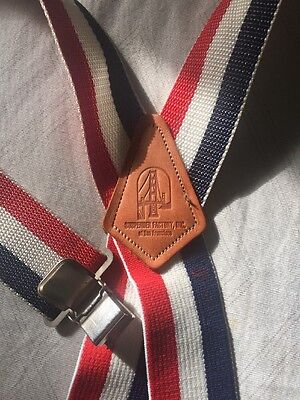 Vtg Striped Suspenders Factory San Fran Red White Blue Wide