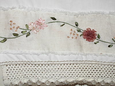Sweetest Pair Of Antique Valances Ever- Embroidered And Crochet